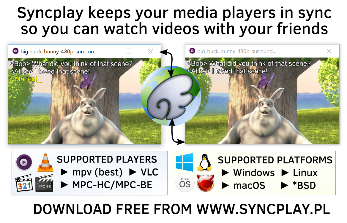 Syncplay keeps your media players in sync